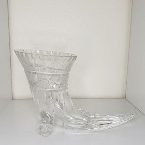 Vintage crystal cut glass cornucopia horn
